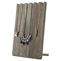 MyGift Barnwood Grey Adjustable-Length Necklace Holder, Jewellery Display Stand