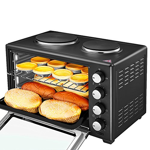 38 Litre Mini Oven and Grill with Double Hotplates,1600W, Max Temp 230°C 6 Cooking Functions for Roasting, Baking, Boiling,Frying,Grilling & Reheating