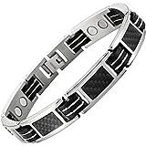 Willis Judd magnetische Herren-Armband Titan mit Schwarzen Carbon Fiber