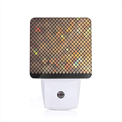 Vibrant Mosaic Of Diagonal Squares With A Black Finish Celebration Event Theme Plug-in LED Night Light Lamp with Dusk to Dawn Sensor, Night Home Decor Bed Lamp Diagonale Finish