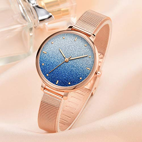 Hahuha , Fashion Simple Ladies Watch Color Cool Frosted Dial Ladie Quartz Mesh Belt Watch -
