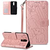 FNBK - Funda para Huawei Mate 10 Lite, color oro rosa, diseño de elefante, de piel, con tapa, estilo libro, con función atril, tarjetero, oro rojo