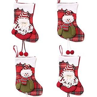 Medias de Navidad, INTVN Christmas Stocking Calcetines Decoración Navideña Caramelo Regalo Bolsa (Santa Claus + Muñeco de Nieve), 4 Piezas