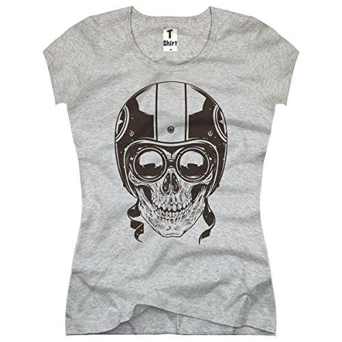 TEE-Shirt, Damen T-Shirt mit Aufdruck. Coole Designer-Drucke.Shirt mit Totenkopf Motiv. Größe XL,Grau