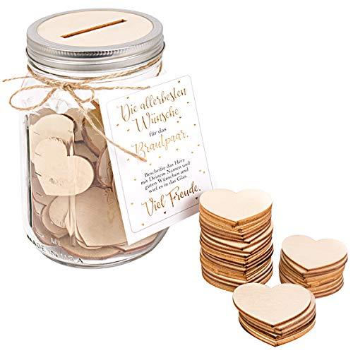Kleinlaut Gästebuch für z.B. Hochzeiten - Ball Mason Jar Glas 950 ml - inklusive 50 x Holzherzen - außergewöhnliche Alternative zum traditionellen Gästebuch (Jars Mason Hochzeit)