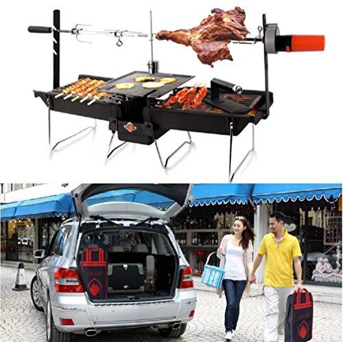 SXJ Barbecue Holzkohlegrill Edelstahl, Tragbarer BBQ Grill Für Das Kochen Im Freien Camping Picknicks (Gebratene Lammkeule) - Herd-bereich Tops