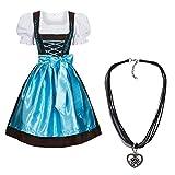 Dirndl Set 3 tlg.braun mit Stickerei in verschiedenen Farben + Halskette Hellblau 46