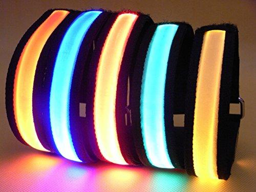 Namsan Sécurité LED Armband haute luminosité Nuit Cyclisme Jogging Marcher Reflective Armband réglable améliore la visibilité personnelle, Brassards Super High-lumière visible flexible et léger pour les amateurs de plein air et des demandeurs d'aventure