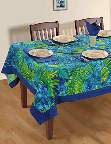 Colorful primavera multicolore floreali tovaglie di cotone per le tabelle box 60 x 90, Bordo Blu