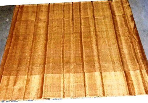 Uppada Plain Gold color Tissue Saree (Zari by Zari weaving)