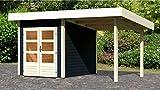KONIFERA Set: Gartenhaus Rosenheim 0, BxT: 405x259 cm, opalgrau, inkl. Anbau opalgrau