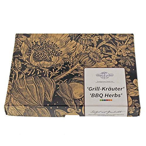 \'Grill-Kräuter\' Samen-Geschenkset mit 4 aromatischen Kräutersorten zum Marinieren & Würzen von Steaks & Grillfleisch