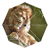 Umbrella Customize 3 Folds Lion Animal Windproof Auto Open Close Lightweight Anti-UV