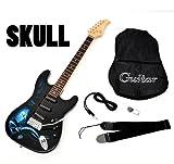 Ts-Ideen 5219 E-Gitarre Skull Totenkopf Motiv mit 3 Single Coils Pickup mit Tremolo, E-Gitarrentasche und Anschlusskabel