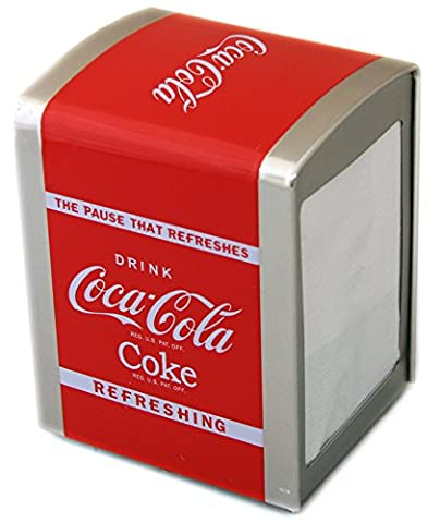OFFICIAL COCA COLA NAPKIN DISPENSER COKE SERVIETTE STORAGE TIN TISSUE GIFT NEW by Carousel Home