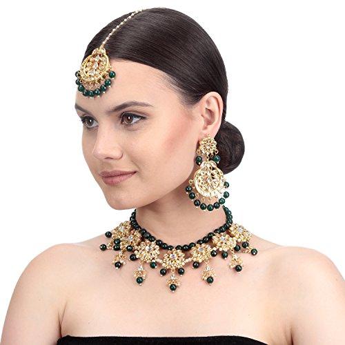 BambooTreeJewel Traditionelle indische Damen Schmuck vergoldet grün kundan Halskette Set Damen Ethnic Collection (Indischer Schmuck-display)