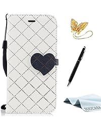 TOUCASA Funda iPhone 6S Plus,Funda iPhone 6 Plus, PU Cuero Diseño de Patrón de Amor del corazón Diseño de líneas a Rayas y Cuadros Funda para Apple iPhone 6S Plus/iPhone 6 Plus-Color Blanco