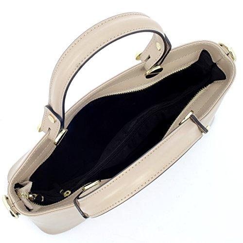 8ccfe936a11af ... Laura Moretti - Handtasche aus Leder mit goldenen Schrauben Taupe