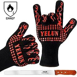 Grillhandschuhe Ofenhandschuhe Topfhandschuhe Backhandschuhe - YELUN Qualität Hitzebeständig EN407 Beglaubigte - Eine Größe passt fast allen - 1 Paar (Rote No.3)
