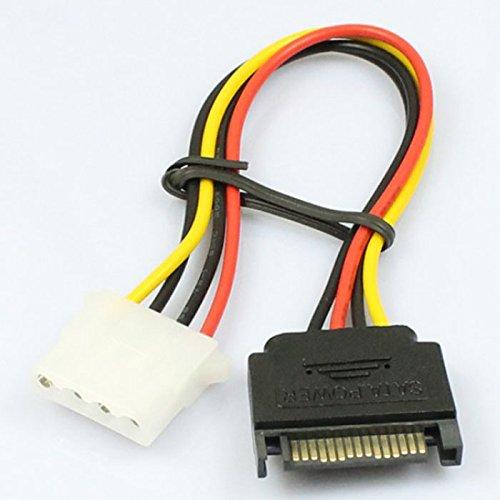 15-poliger SATA-Stecker auf 4-polige Molex-Buchse IDE HDD Power Hard Drive Cable (M,Orange)
