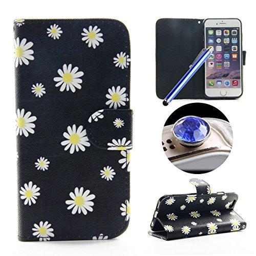 Etche Schutzhülle für iPhone 6 Plus/6S Plus 5.5 Zoll Hülle,iPhone 6 Plus/6S Plus 5.5 Zoll HandyHülle bunt Muster,iPhone 6 Plus/6S Plus 5.5 Zoll Brieftasche Ledertasche, Luxus niedlich Cartoon PU Leder Daisy