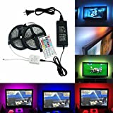 Sunface Waterproof LED Strip Lighting 10M(2x5m) - 5050 RGB 300LEDs Flexible Color Changing LED Light Strip Light Full Kit - 44 Key ir Remote Control Box - 12V 5A Power Supply for Bars, Restaurants,Gardens,Homes Office Home Decorative,Christmas Party, Chrismas Tree, Festivals, Birthday