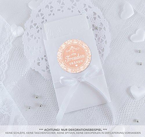 SET GROß: 48 Freudentränen Sticker + 48 weiße Flachbeutel - 63 x 93 mm für Freudentränen Taschentuch Verpackungen • Aufkleber mit Ornamente in APRICOT Vintage Shabby Chic Style • 4cm, rund, matt