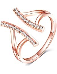AllThingsCharmed Lumini Diamos AD Pillars American Diamond Rose Gold Adjustable Ring With Luxury Gift Box For...