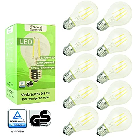 National Electronics Bombilla LED Filamento blanco cálido