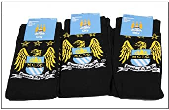 3pairs Men's Official Manchester City Football Club Design Club Crest Pattern Socks 6-12