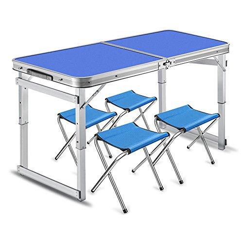 LVZAIXI Table Pliante portative avec 4 chaises réglées pour Le Camping (Couleur : Bleu)