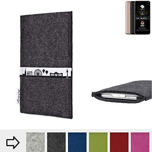flat.design für Allview A9 Plus Schutztasche Handy Hülle Skyline mit Webband Wien - Maßanfertigung der Schutzhülle Handy Tasche aus 100% Wollfilz (anthrazit) für Allview A9 Plus