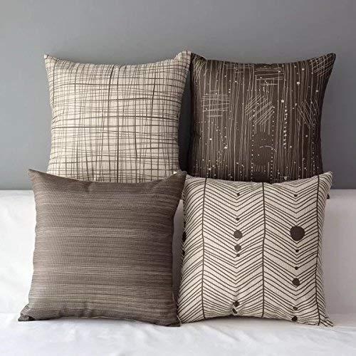 Fabthing federe cuscini in cotone lino geometria morbidi quadrati decorativi in divano letto sedia 45x45cm,4pezzi-marrone