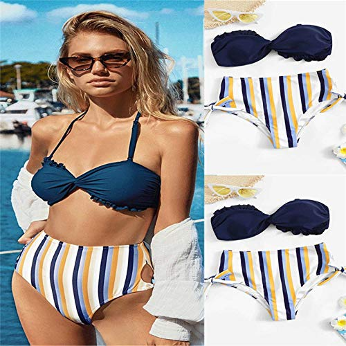 JNBUXUDM 2019 Neue Frauen Triangel Bikini Sets Gepolsterter BH Tops Tanga Bottoms Bademode Patchwork Badeanzug Sexy Rüschen