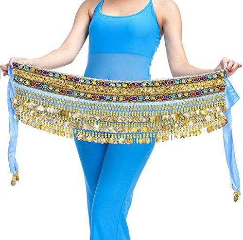 men Herrlich Gold Münze Hüfte Schal Bauch Tanzen Taille Kette (Meer blau) (Tanz Kostüme Für Den Verkauf Kinder)