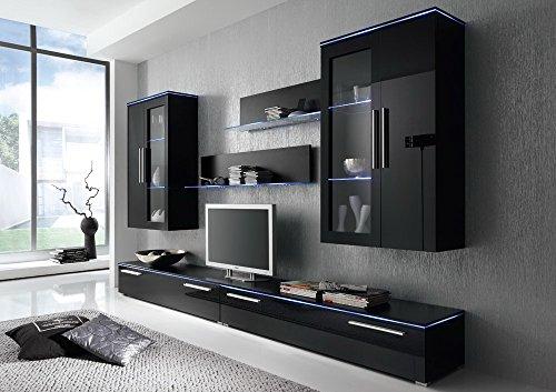 Anbauwand 6-tlg. Hochglanz schwarz, 2 x TV-Element, 2 x Hängevitrine, 2 x Glasbodenpaneel, Mindestbreite: ca. 300 cm, Tiefe: ca. 40 cm