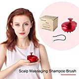 MURLIEN Scalp Massaging Shampoo Brush, Manual Head Scalp Massager, Scalp Care Brush with Flexible Silicone Bristles for Scalp Relax and Hair Clean - Red