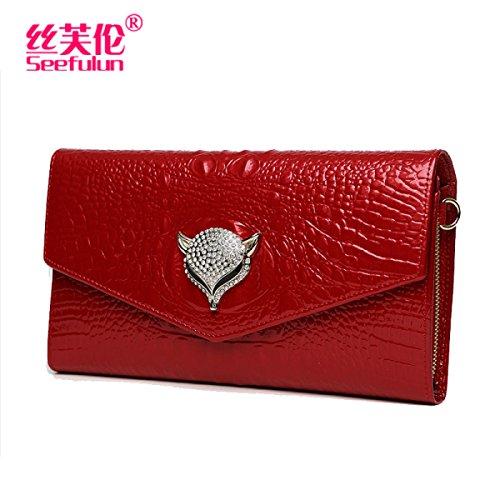 Neue Lederumschlagbeutel Handtasche Damen Kette Abendessen Tasche Red