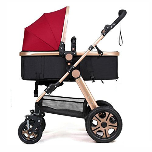 3-en-1 cochecito alto paisaje sentado paraguas horizontal plegable portátil bidireccional 4 ruedas amortiguador recién nacido cuatro estaciones viaje sombra universal...