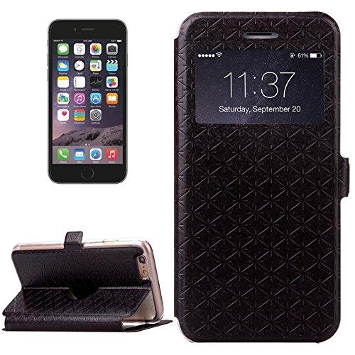 Phone case & Hülle Für iPhone 6 Plus / 6s Plus, Argyles Texture Horizontale Flip Solid Farbe Leder Tasche mit Halter & Card Slot & Call Display ID ( Color : Gold ) Black