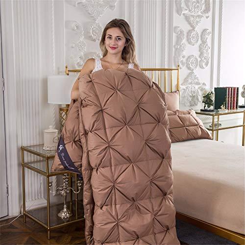 WanJiaMen'Shop Gänsedaunen-Dicke Dicke warme Winterdecke Luxus Quilt Tröster Bettwäsche Füllstoff Französisch Brotform Stiching, braun, 220x240 cm 4,1 kg -
