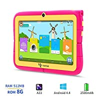 Yuntab Kids Tablet Q88R 7 Inch Allwinner A33,1.5Ghz Quad Core Android 4.4 Tablet PC,512MB+8GB,HD 1024x600,Dual Camera,WiFi,Bluetooth,3D Game,TF Card,Support Parental Control Software - iWawa(Pink)