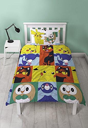 Pokemon-funda-de-edredn-novatos-diseo-con-funda-de-almohada-microfibra-multicolor-cama-individual