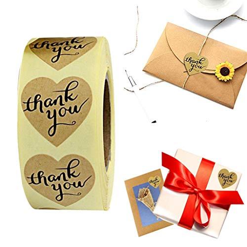 Gaddrt thank you sticke carta kraft grazie etichette adesive grazie adesivi / 500 etichette per rotolo per rotolo-facile rimovibile -1 x wall sticke