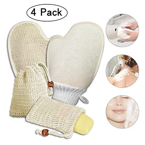 4x Seifensäckchen Bio und Badhandschuhe, Seifensäckchen Sisal, Seifenbeutel Natur, Peeling, Massage Handschuhe Seifentasche für Aufschäumen und Trocknen der Seife! -