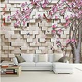 Fushoulu Formato Personalizzato 3D Stereo Brick Stone Peach Blossom Fiori Foto Wall Paper Per Soggiorno Camera Da Letto Home Decor Arte Murale Carta Da Parati-280X200Cm