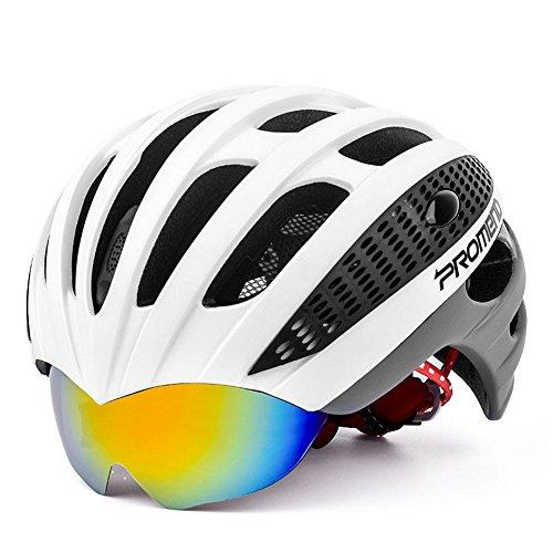Ergou Radfahren Helm Mountain Bike Riding Helm Ein mit Brille Leichte Helm Rennrad Männer und Frauen Brillenmodelle, White Ash