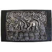 Teak con elefante Design portagioie con coperchio in metallo martellato, commercio equo e solidale