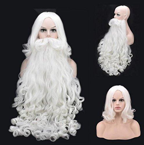 Santa Claus Perücken und Bart Set Perücken für Weihnachten Holiday Party Perücken (Santa Claus Kostüm Frauen)