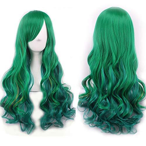 es Haarteil für Damen, Seitenscheitel, Farbverlauf dunkelgrün bis hellgrün, Lange gelockte Perücke mit seitlichem Pony, flauschig für Cosplay Party M187 ()